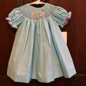 NWT Blue White Dots Smocked Cow Jumped Over Moon